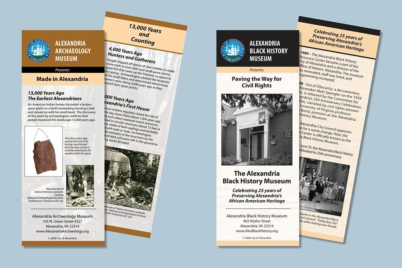 Brochures 8 : Docent cards produced for six different Alexandria, VA museum carts