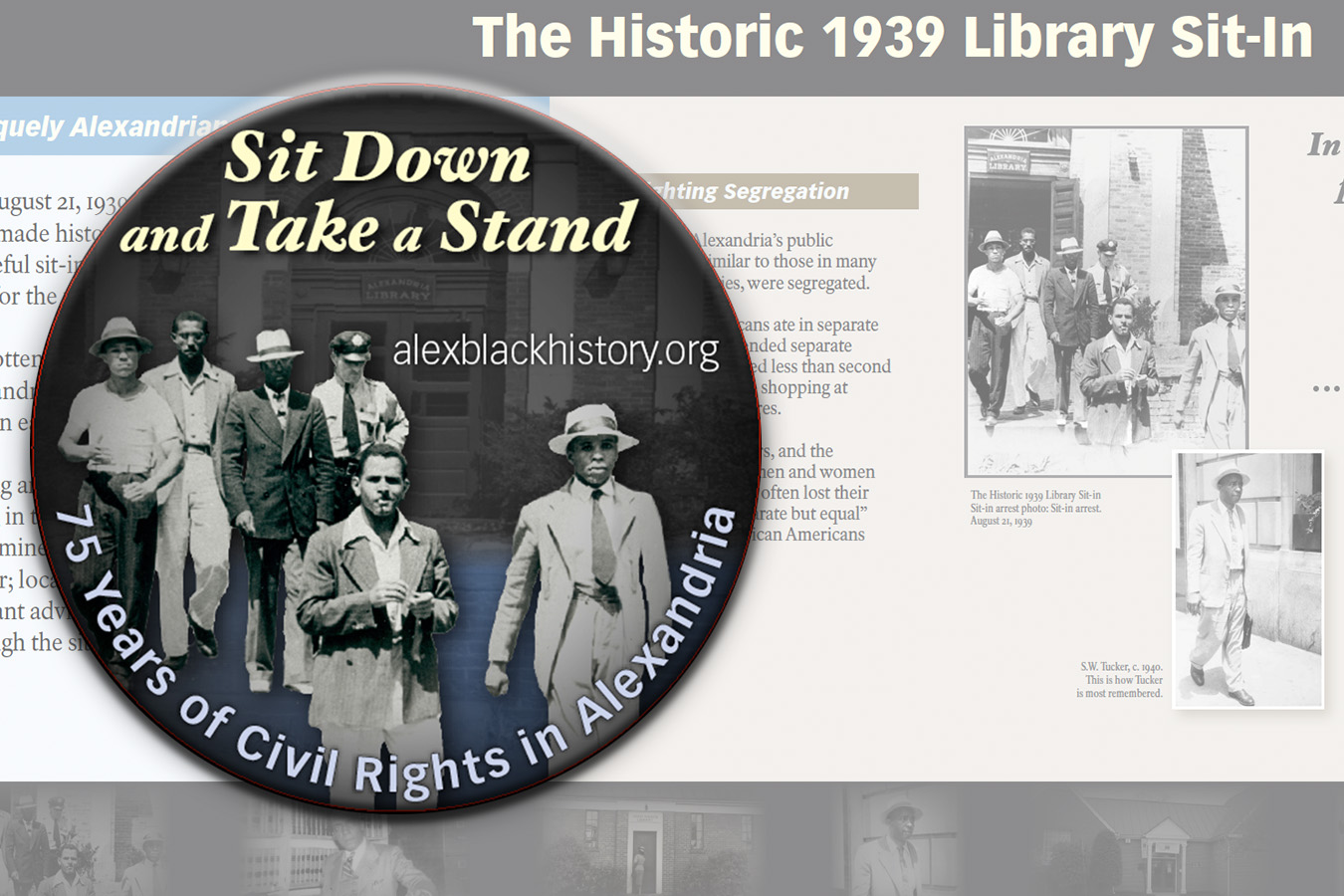 ABHM button : Button for Alexandria Black History Museum commemorating 75 years of Civil Rights