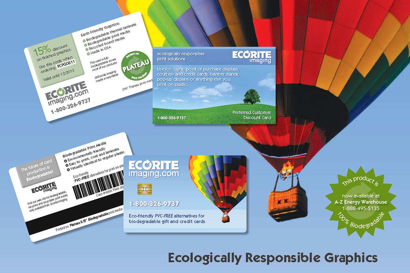 Ecorite Samps : Ecorite biodegradable plastic print samples with discount for use on graphic production