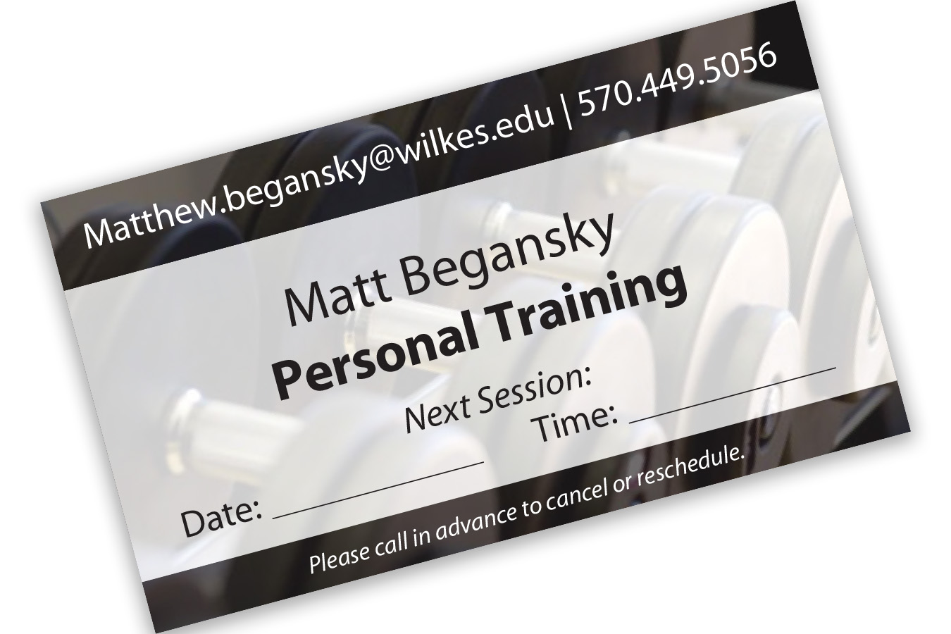 Matt Trainer : Personal training session cards