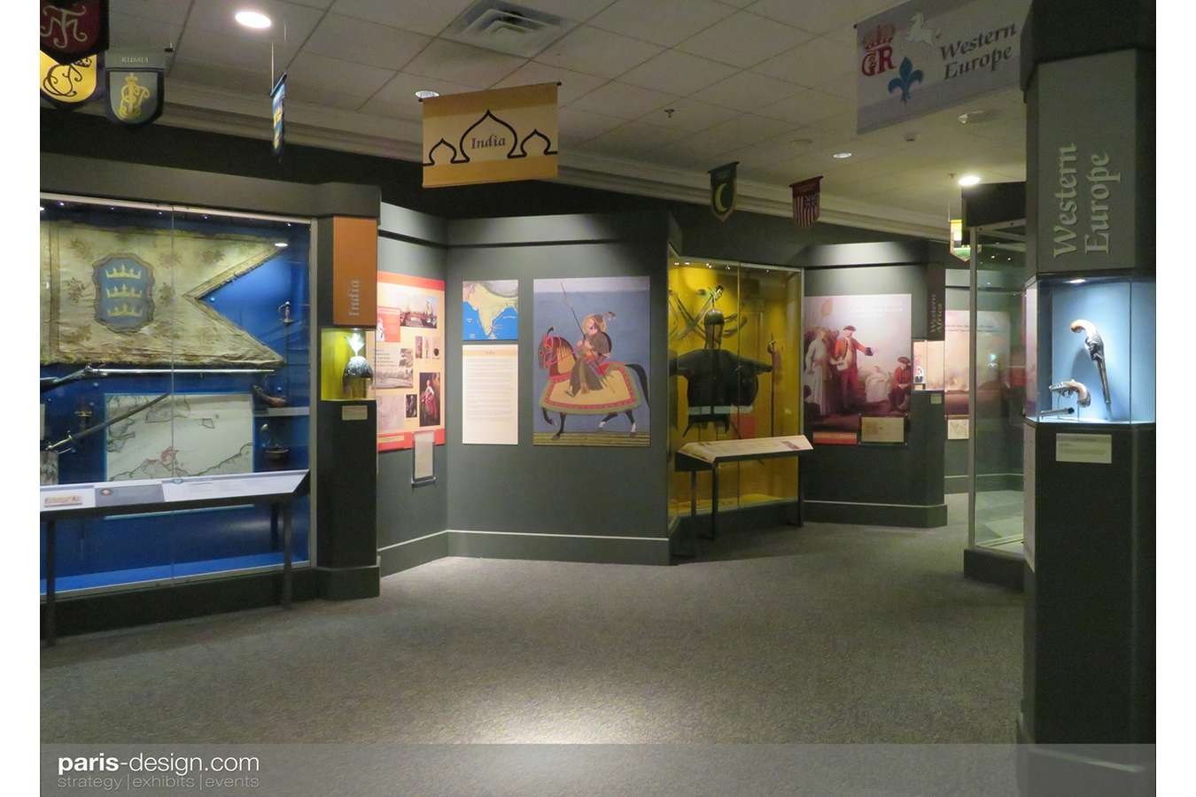 4W 7yrs 2 : Each thematic zone in this gallery has coordinated colors, logos, banners, flags, maps, and graphics