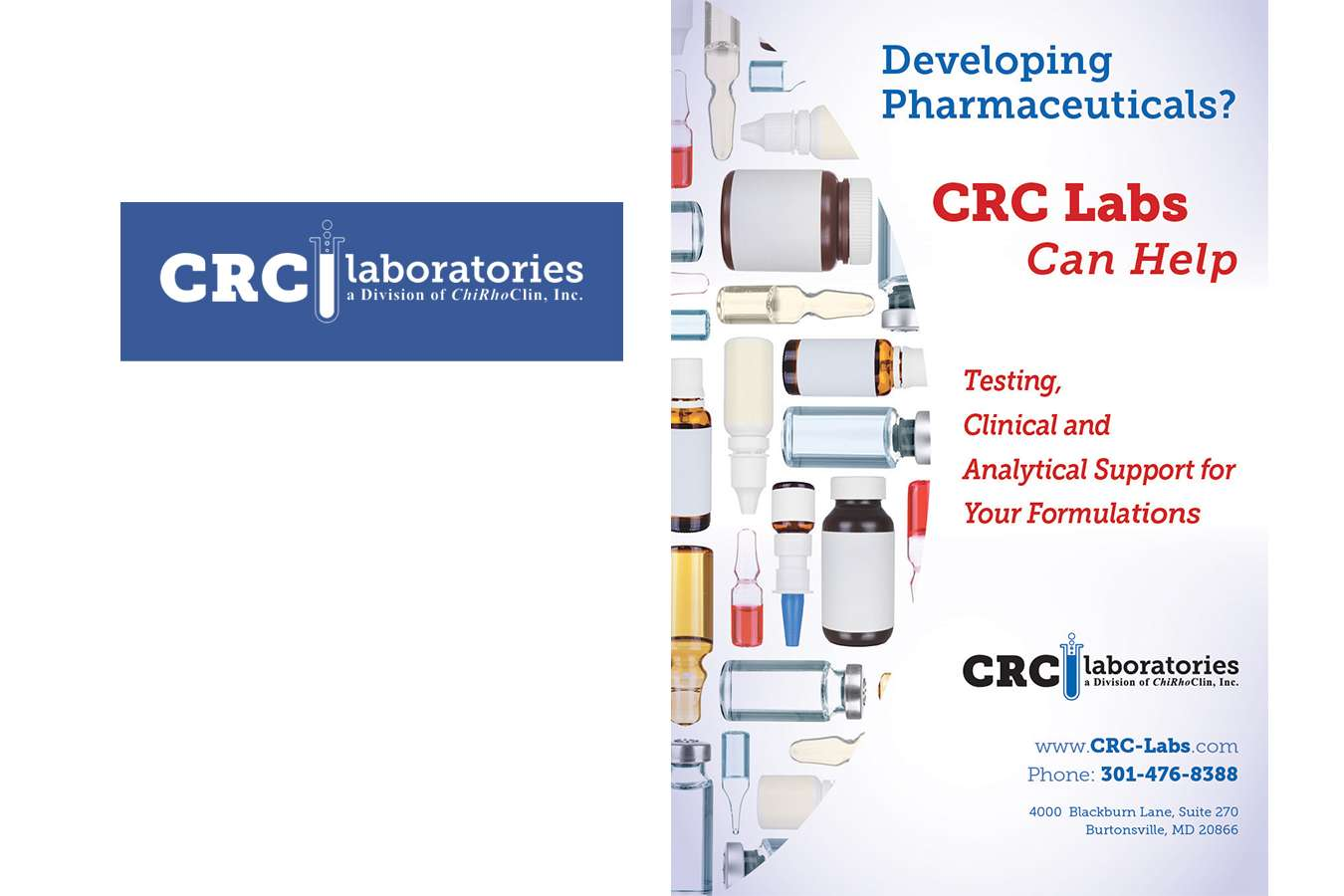 CRC logo & page : CRC Laboratories logo and marketing materials