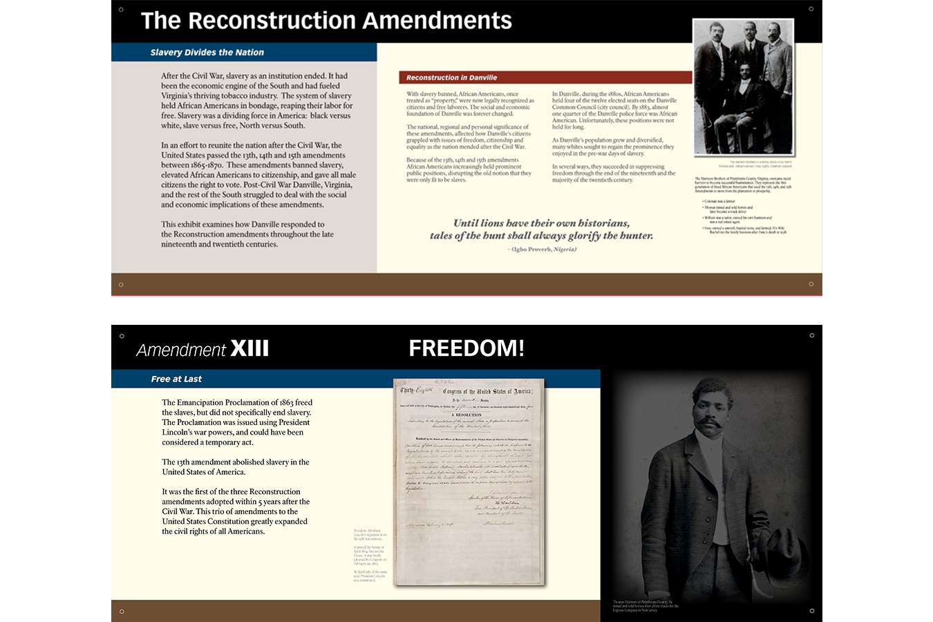 DMFAH 1,2 : Reconstruction Amendments, Jim Crow and Civil Rights are explored in this exhibit