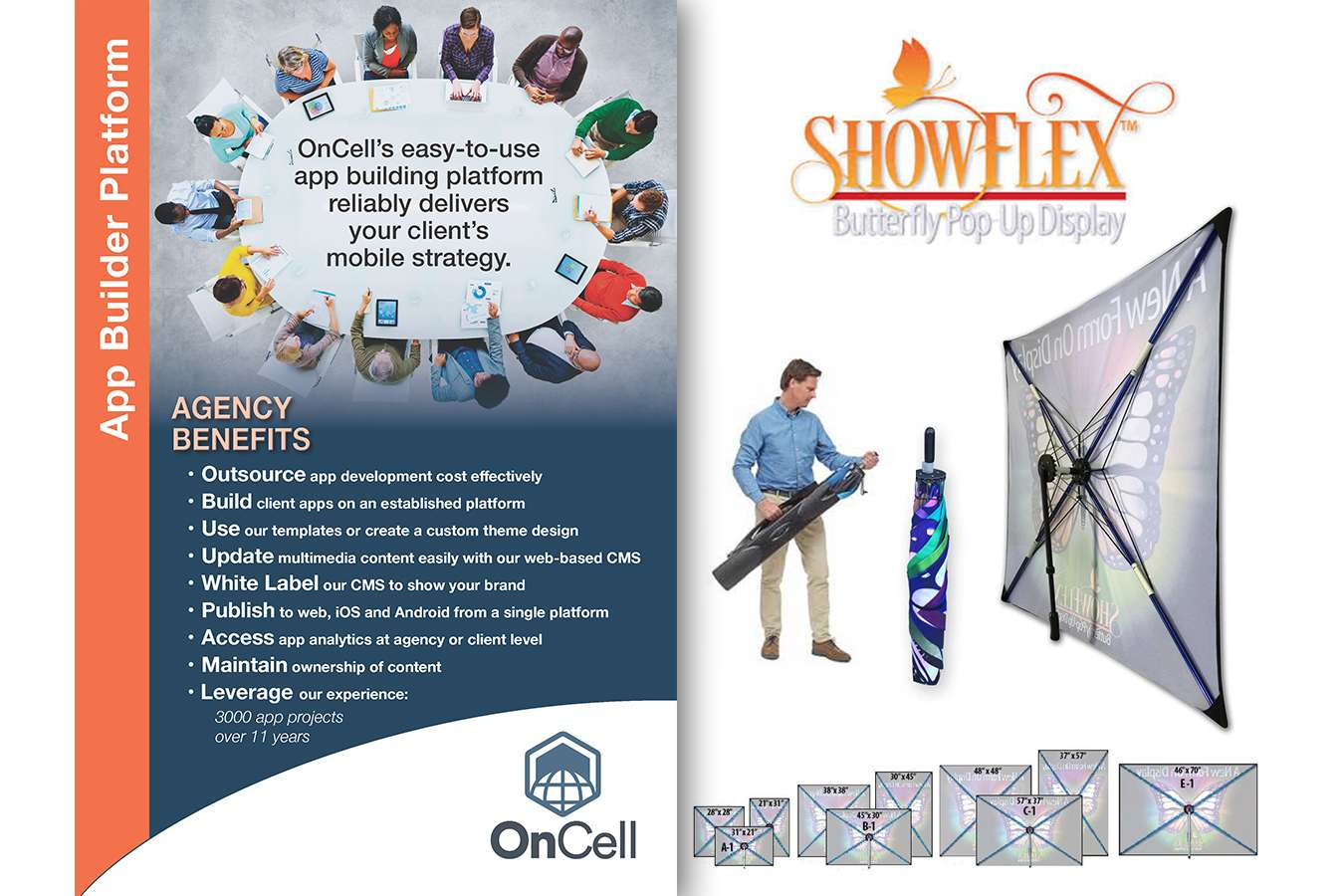 ONCELL APPBldr V2 final : Showflex fabric displays offer light-weight easy to use option for table top to back wall units