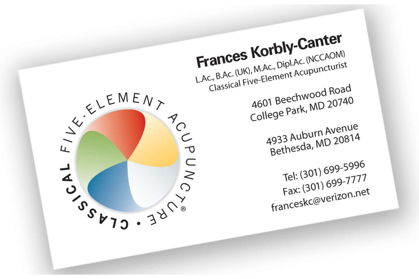 Frances : Business Card for classical five element acupuncturist