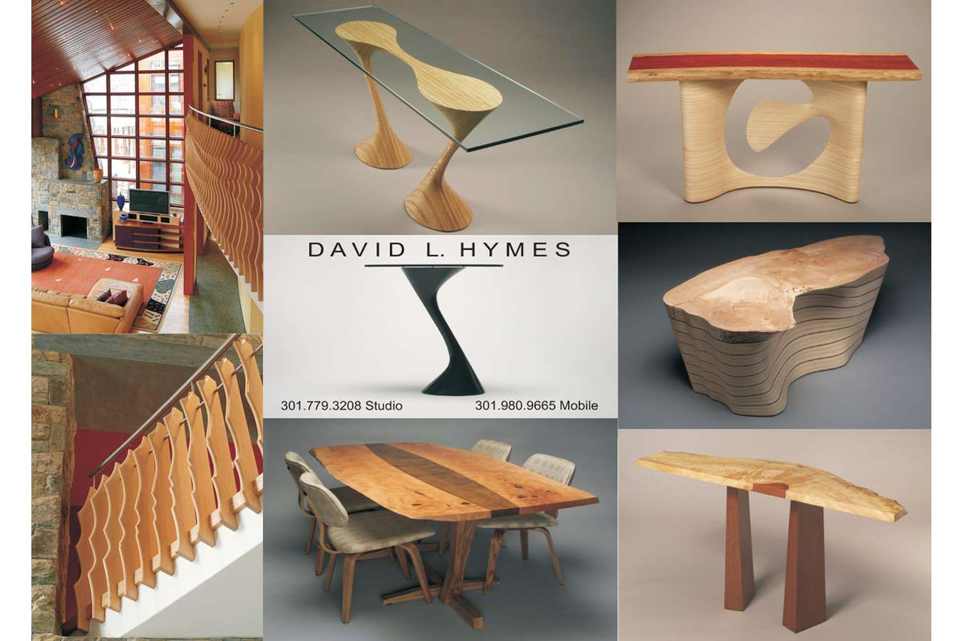 Hymes : Postcard accompanies custom portfolio package developed for furniture craftsman