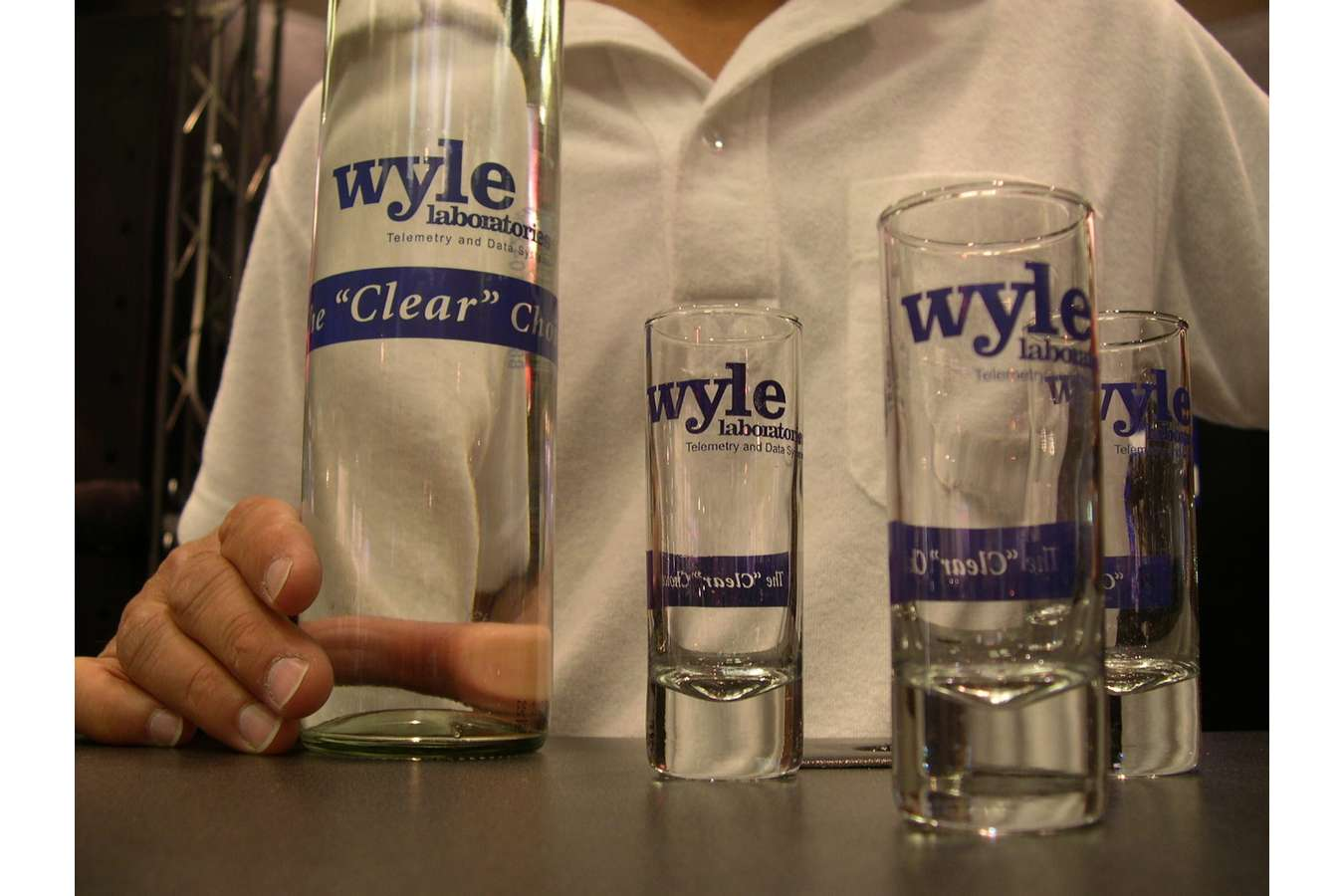 "Wyle Water : Wyle's ""Clear Choice"" campaign branded water & shot  glasses"
