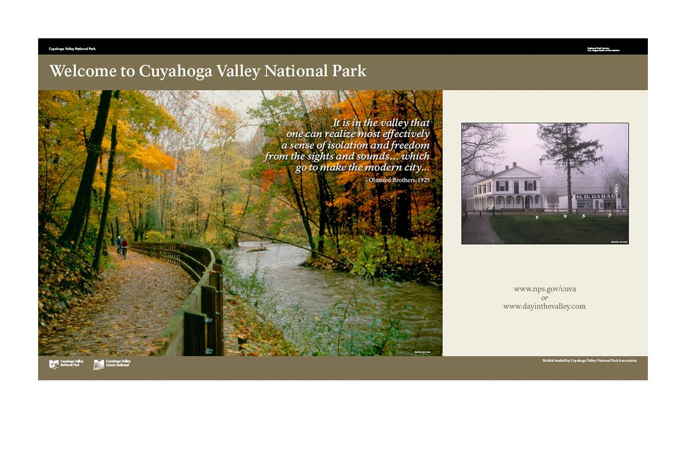 CUVA NPS 2 : Wall panels for visitor centers located in this 50 square mile park along the Cuyahoga River.  The park extends between Cleveland and Akron, Ohio and is the only national park in the state