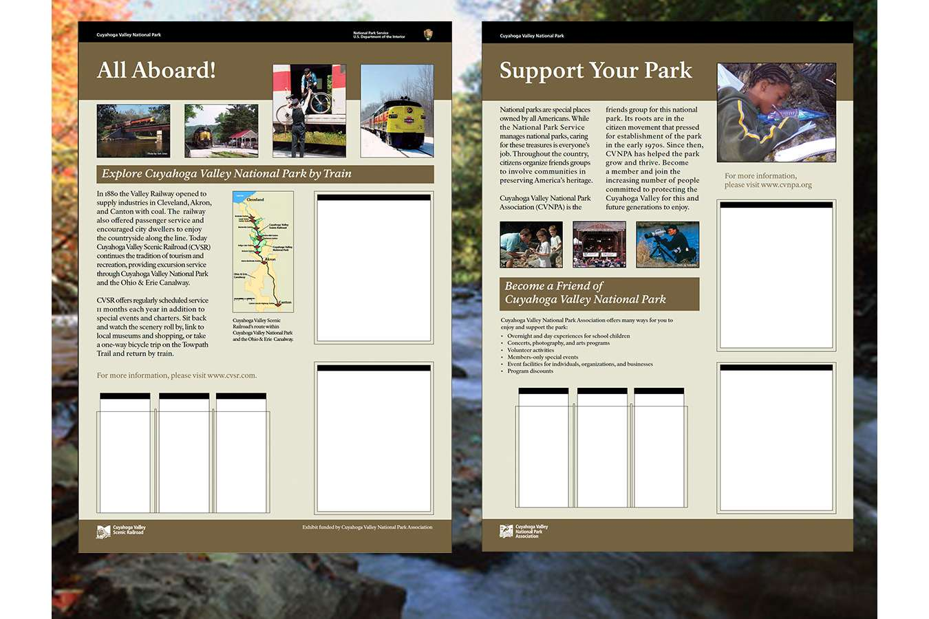 CUVANPS5 : Waysides for the park included brochure holders for maps, flyers, daily schedules and updates