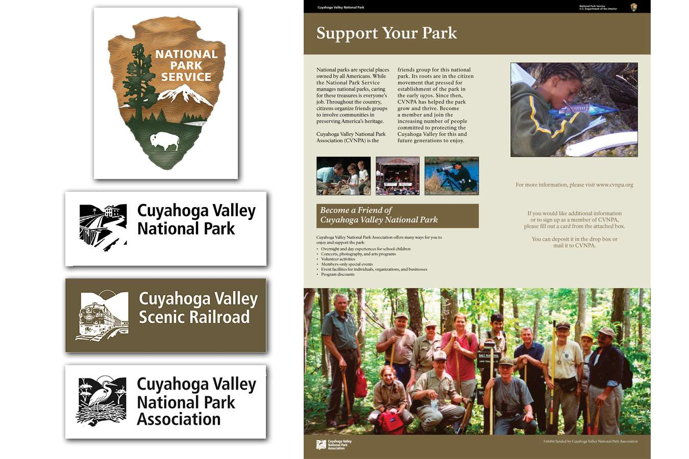 CUVANPS8 : Logos developed for the Cuyahoga Valley National Park, Association and Scenic Railroad