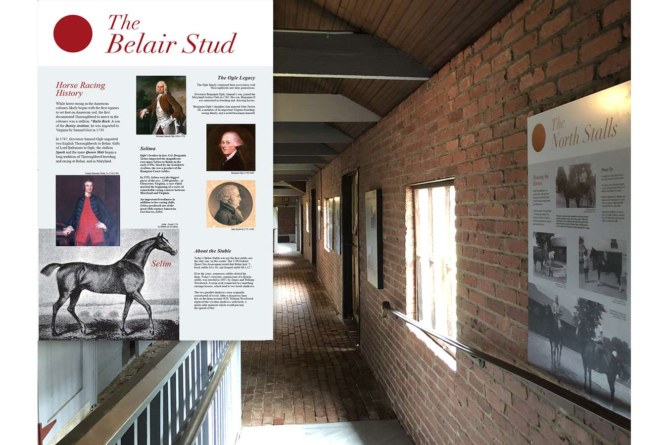 Belair Stud : Graphic panels inside the stables are printed on recycled media