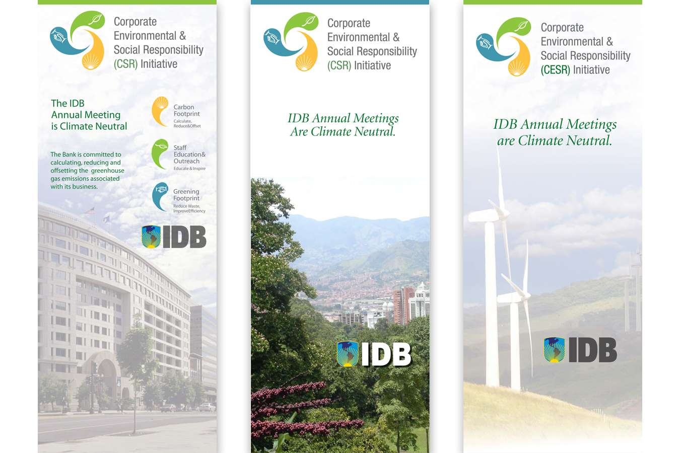 IDB 3 banners : IDB Climate Neutral Meeting Banners