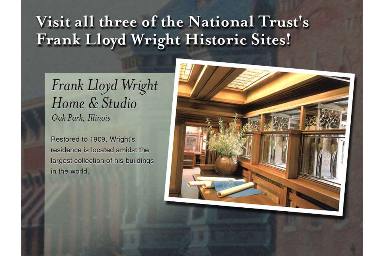 NTHP 3 web3 : For the Frank Lloyd Wright homes, customized articulated wood frame plaque was created