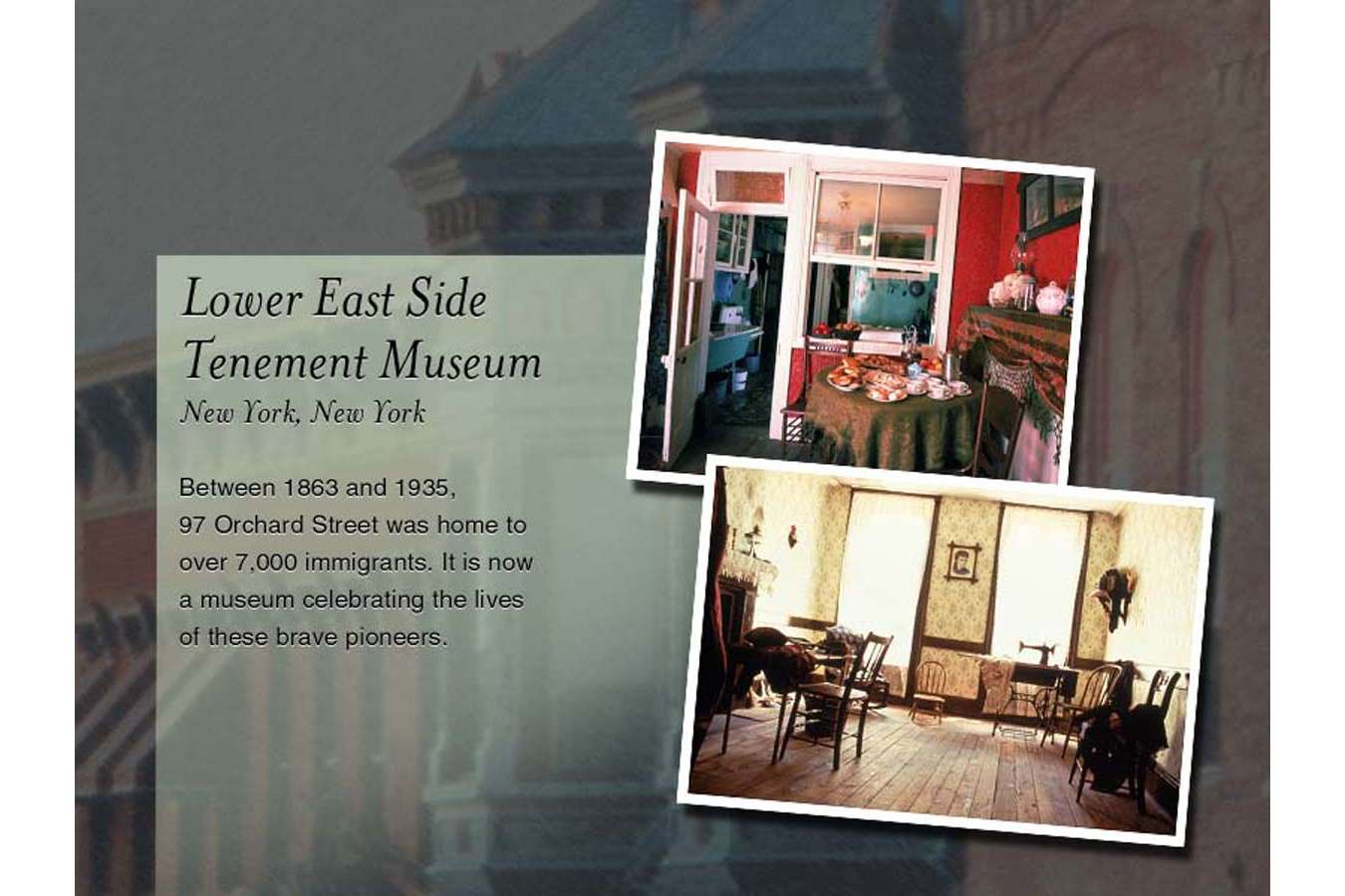 NTHP nytm : For the New York Tenement Museum, custom distressed wood frame created